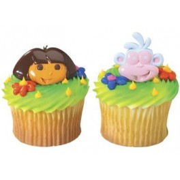 3D Dora & Boots Cupcake Rings