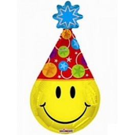 """14"""" Smiley Party Hat Air-Filled Balloon"""