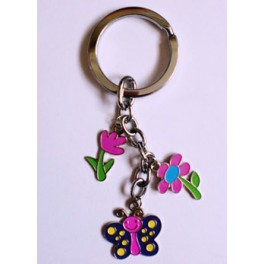 Butterfly n Flower Charm Keychain