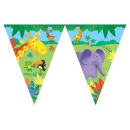 Jungle Buddies Animal Flag Banner