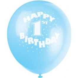 "12"" 1st Birthday Blue Latex Balloons"