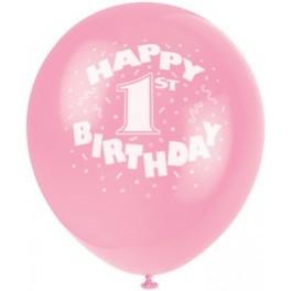 "12"" 1st Birthday Pink Latex Balloons"