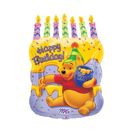"23x18"" Pooh Cake With Candles Mylar Balloon"