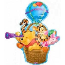 """36"""" Pooh Hot Air Balloon Mylar Balloon"""