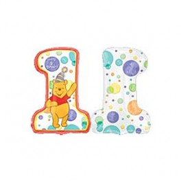 "32"" Happy 1st Birthday Pooh Mylar Balloon"