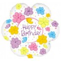 "22"" Birthday Flowers & Butterflies Mylar Balloon"