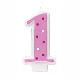 No 1 Pink Polka Dots Candle